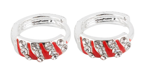 Ladies Pair Bling Rhinestone Decor Hoop Earrings Red Silver Tone
