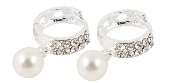 Ladies Pair Imitation Pearl Rhinestone Decor Pierced Hoop Earrings