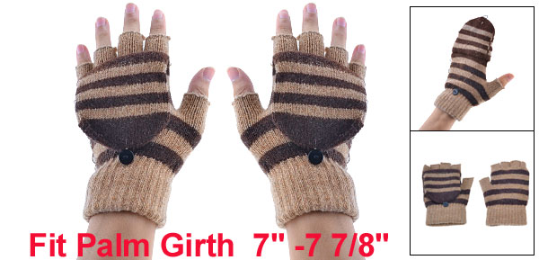 Stripe Ribbed Knitted Acrylic Flap Cover Fingerless Gloves Pair Khaki for Unisex