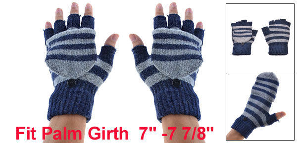 Lady Man Pair Stripe Pattern Elastic Knitted Flap Fingerless Gloves Dark Blue