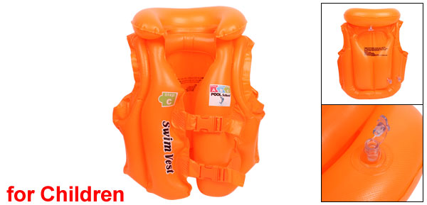 Orange Plastic Adjustable Release Buckle PVC Life Jacket Vest for Children Kids