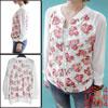 Woman Fashion Sheer Long Sleeve Zip Up Front Flora...