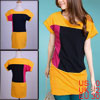 Women Softness Short Sleeve Color Contrast Tunic S...