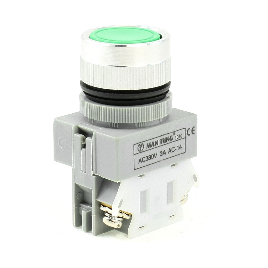 Round-Green-Cap-2-Pin-Momentary-1NO-1NC-Electric-Push-Button-Switch-AC380V-3A