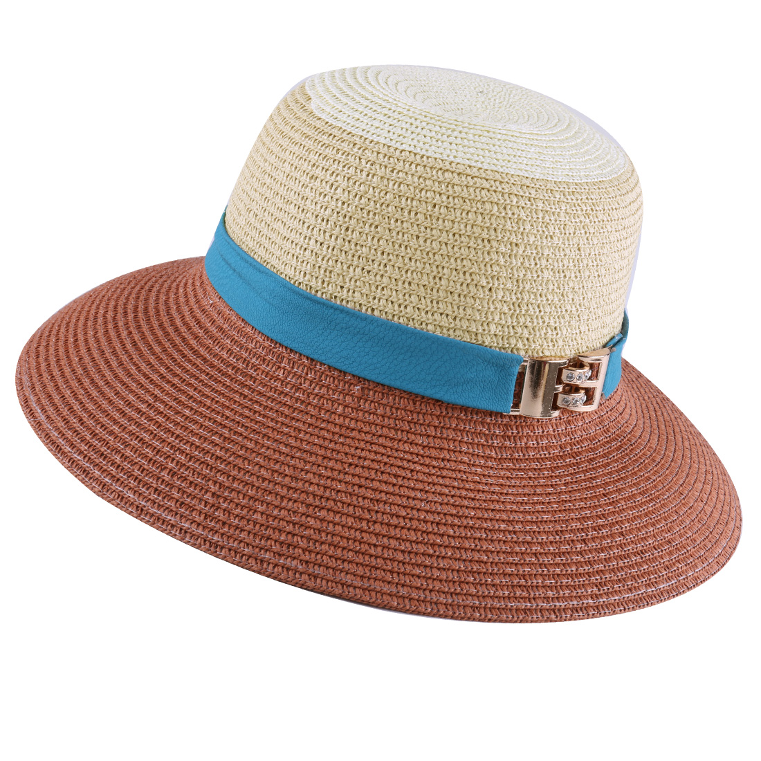 1346# Ladies Wide Brim Leather Strap Decor Woven Straw...