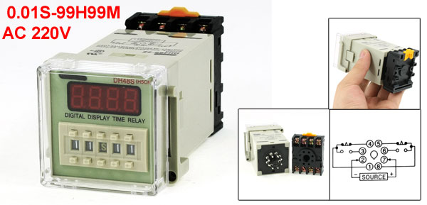 DH48S-2Z LCD Display Time Timer Delay Relay 8-Pin DPDT 0.01S-99H99M AC 220V