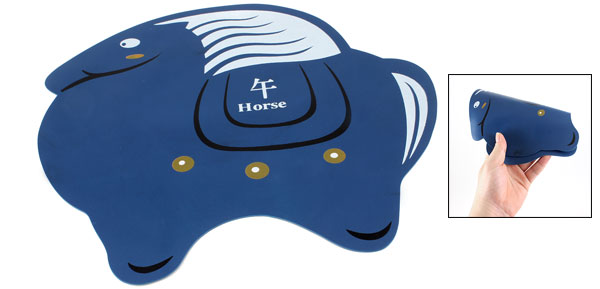 Desktop Chinese Zodiac Cartoon Horse Design Rubber Mouse Pad Mat Dark Blue White