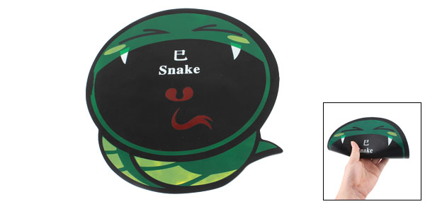 Desktop Chinese Zodiac Cartoon Snake Design Rubber Mouse Pad Mat Black Green