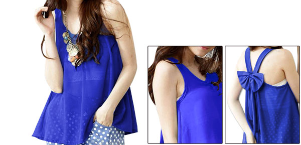 Ladies Pullover Casual Semi Sheer Shirt & Stretchy Tube Top Royal Blue XS