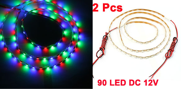 Auto Car 90cm Colorful 90 LED Flexible PVC Light Strip DC 12V 2 Pcs