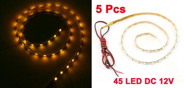 5 Pcs Yellow 45LEDs Lamp Light Strip 45cm for Auto Ornament