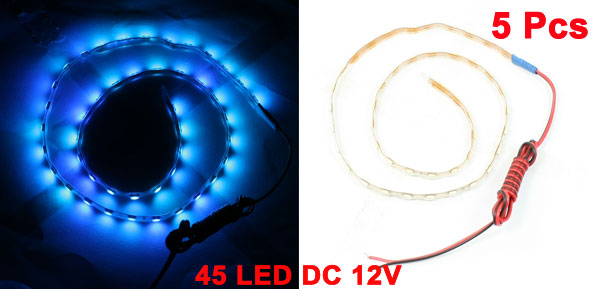 Vehicle Car 45cm Blue 45 LEDs Decorative Lamp Light Strip 5pcs