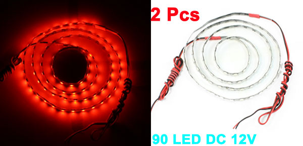 Vehicle Flexible Red 90 LED Light Strip Decoration 90cm 2 Pcs