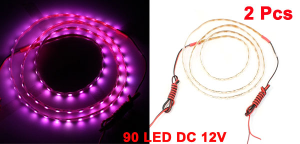 Auto Car 90cm Pink 90 LED Flexible PVC Light Strip DC 12V 2 Pcs