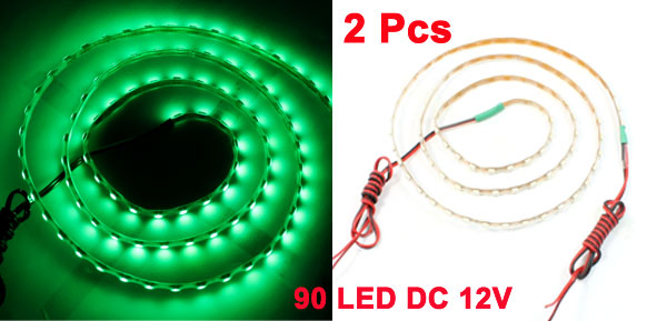 2 Pcs Green 90 LED Flexible Light Strips DC 12V 90cm for Car