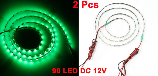 2x Flexible Green 90 LED Lamp Light Strip 90cm for Auto Car Decoration
