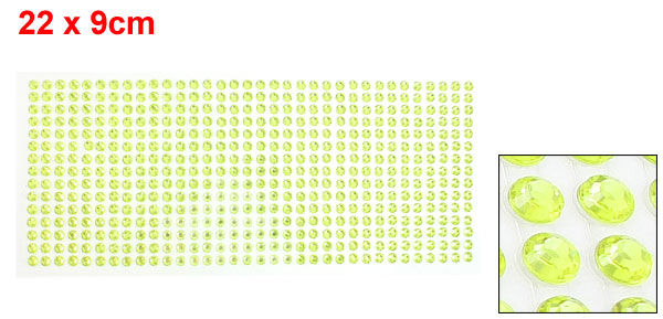 DIY Car Light Green Plastic Glitter Rhinestone Self Adhesive Sticker Sheet