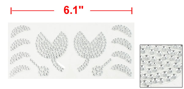 Silver Tone Plastic Rhinestone Flower Moon Style Auto Car Sticker Decal Sheet