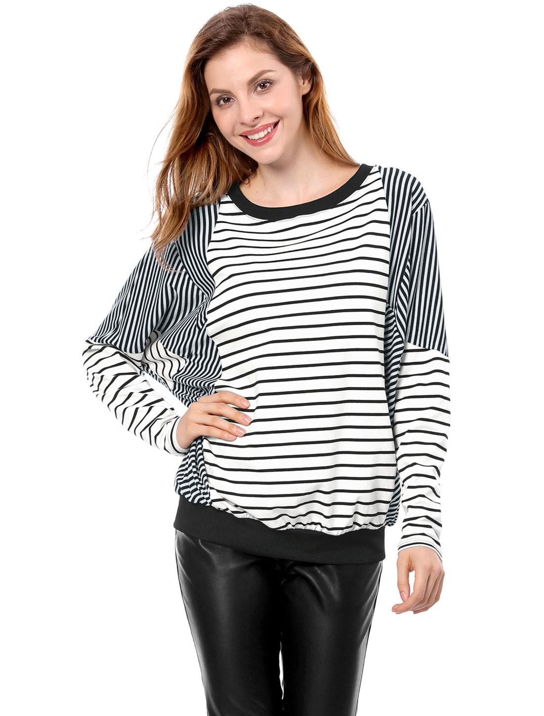 Frauen Fledermaus-Ärmel leger lose rundausschnitt Pullover Herbst T-Shirt Bluse