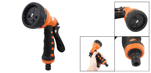 Car Orange Black Nonslip Grip Cleaning Hose Nozzle Connectors Water Gun Sprayer