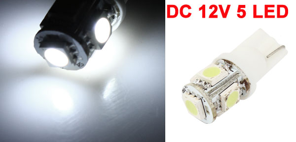 T10 White 5 LED Dashboard Dome Light Bulb for Car