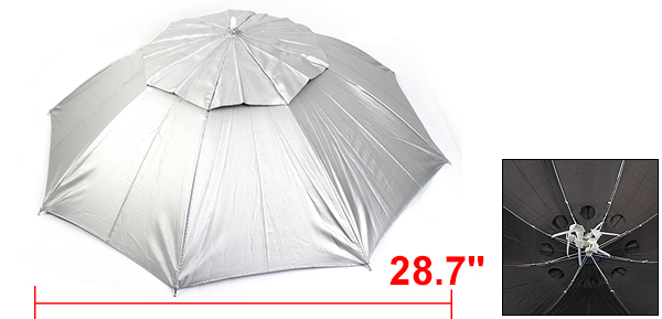 Metal Frame Outdoor Sunshade Fishing Gardening Umbrella Hat Silver Tone