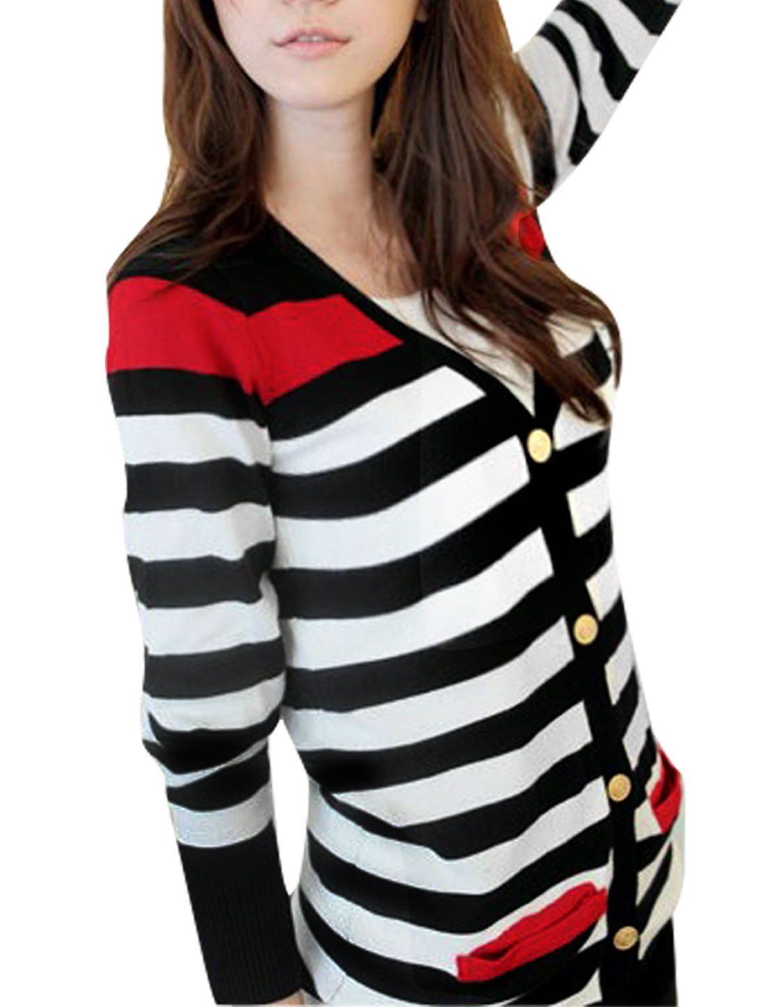 643 Women Striped Single Breast V Neck Stretch Autumn...