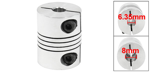 CNC Motor Shaft Coupler 6.35mm to 8mm Flexible Coupling 6.35x8mm