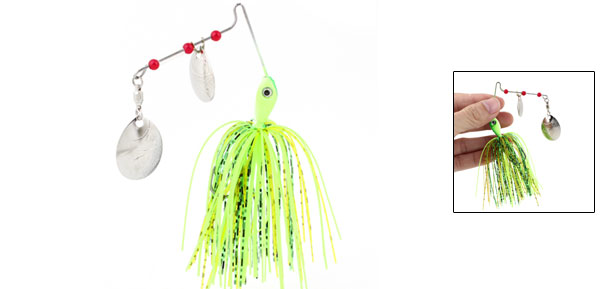 Metal Dual Sheet Green Soft Octopus Shaped Fishing Baits Lures w Fishhook