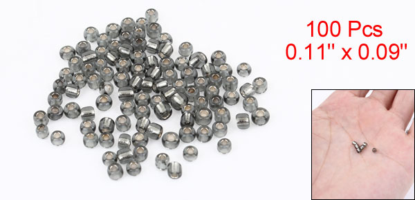 100 Pcs Dark Gray Hard Plastic Round Shaped Hollow Beads Fishing Lures