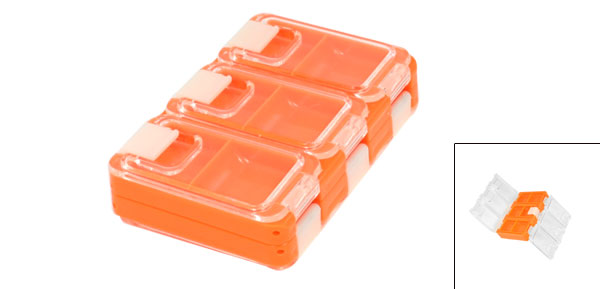 Plastic Clear Cover 6 Compartments Fishing Tackle Box Orange