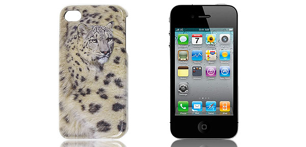 Panther Pattern Anti Slip Beige White Gray Back Case for iPhone 4 4G