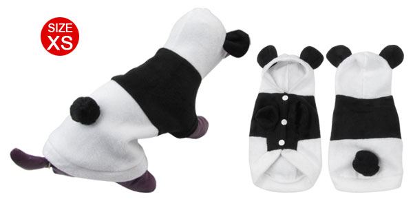 Single Breasted Panda Design Hoodie Yorkie Pet Dog Coat White Black Size XS