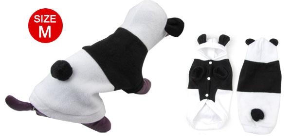Press Stud Button Hooded Panda Design Pet Dog Cat Coat Jacket Black White M