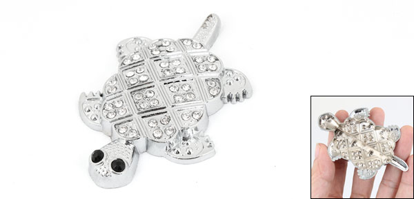 Silver Tone Tortoise Shape Metal Rhinestones 3D Detail Sticker for Car