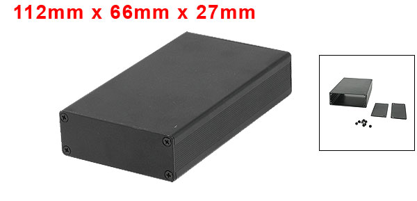 112mm x 66mm x 27mm Aluminum Enclosure Case DIY Junction Box Black