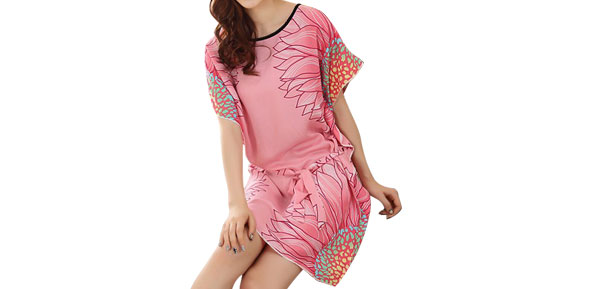 Ladies Watermelon Red Flower Pattern Round Neck Adjustable Strap Sleep Dress S