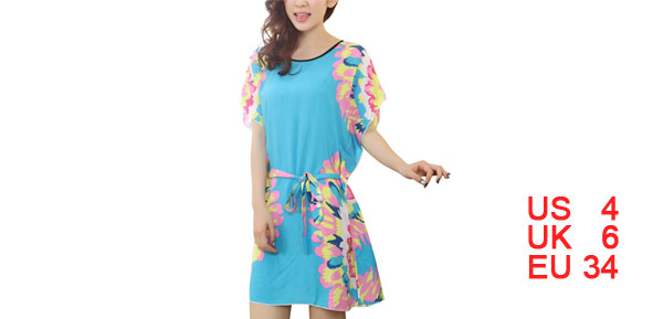 Women Pink Yellow Flower Sky Blue Flutter Sleeves Sleep Dress S
