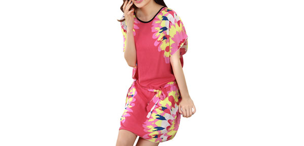 Lady Watermelon Red Round Neck Sky Blue Nightwear Sleep Dress S