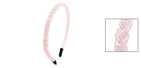 Lady Light Pink Bling Mini Beads Braided Slim Headband Hairband Hair Hoop