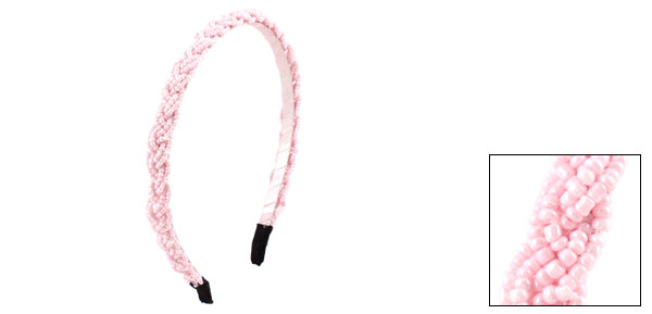 Pink Plastic Mini Beads Braid Metal Narrow Hair Hoop Headband for Women