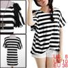 Ladies Short Dolman Sleeve Stripes Pattern Cutout ...