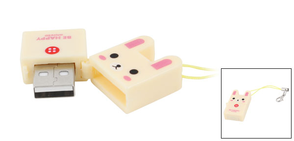 Rabbit Design Plastic Shell USB Micro SD Memory Card Reader Beige