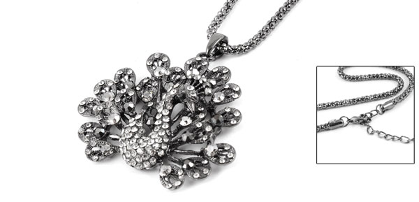 Women Rhinestone Inlaid Peacock Pendant Dark Gray Alloy Sweater Necklace