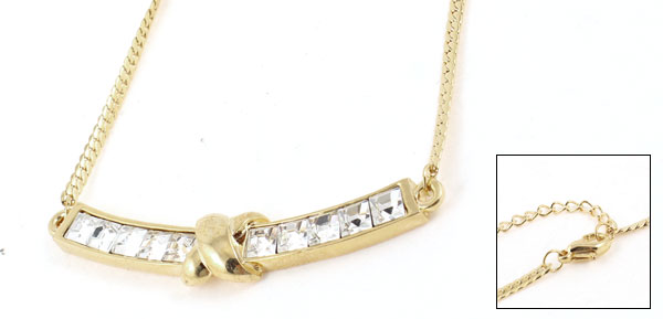 Woman Gold Tone Bar Pendant Lobster Clasp Closure Neck Chain Necklace