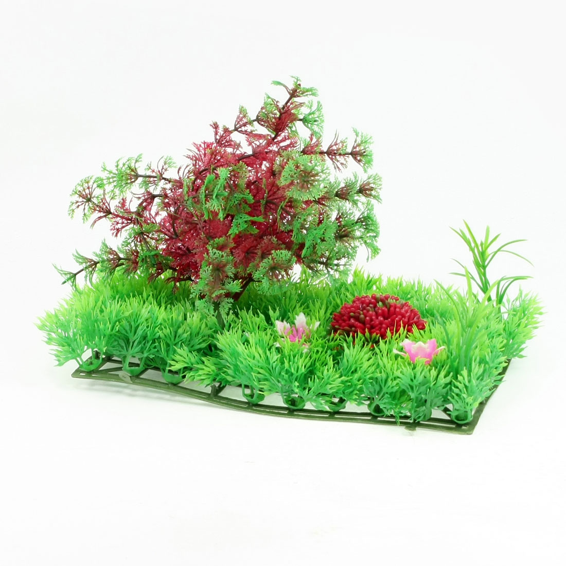 Fish-Tank-Plastic-Crimson-Green-Snow-Flake-Leaf-Plants-Lawn-Decor-9-8-x-4-5