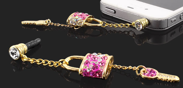 Rhinestone Key Lock Pendant 3.5mm Earphone Ear Cap Anti Dust Plug Pink for Mobile Phone