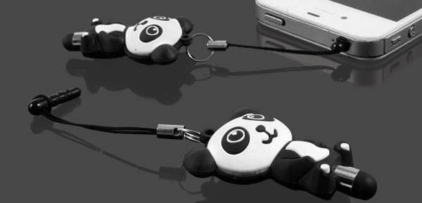 Rubber Panda Pendant 3.5mm Ear Dust Proof Cap Stylus Pen for Smartphone MP4