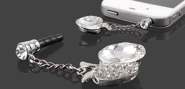Rhinestone Apple Design 3.5mm Ear Cap Jack Dust Plug Stopper White for Cell Phone