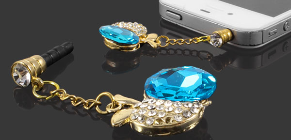 Rhinestone Apple Shape 3.5mm Ear Cap Jack Dust Plug Stopper Blue for Cell Phone